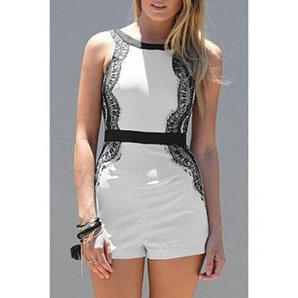 romper black sexy summer black and white fashion style rose wholesale-dec