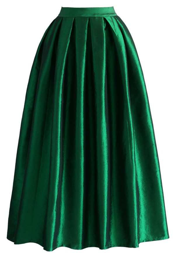 skirt chicwish la diva pleated maxi full skirt green