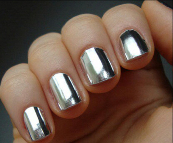 nail polish silver nail nails metallic polish shiny metallic nails metal hands nail lacquer amazing color cheap stuff