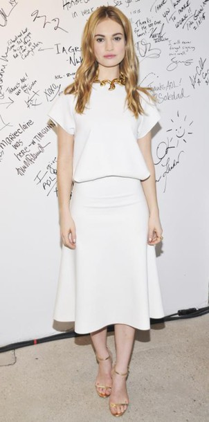 skirt midi skirt top lily james white