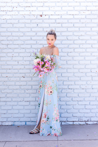 late afternoon blogger dress shoes jewels maxi dress off the shoulder dress blue dress floral dress sandals slit dress