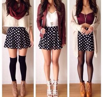belt shoes sweater polka dots shirt tank top top scarf jewels jacket polka dress black skirt cardigan socks