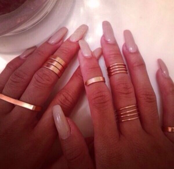 Gold thin shiny rings 4 knuckle rings plain band gold