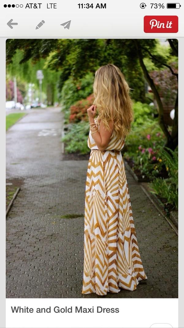 dress gold pattern maxi
