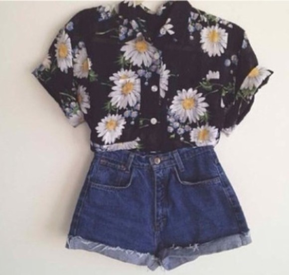 baggy tshirt blouse flowers summer summer outfits spring trends 2014 shorts