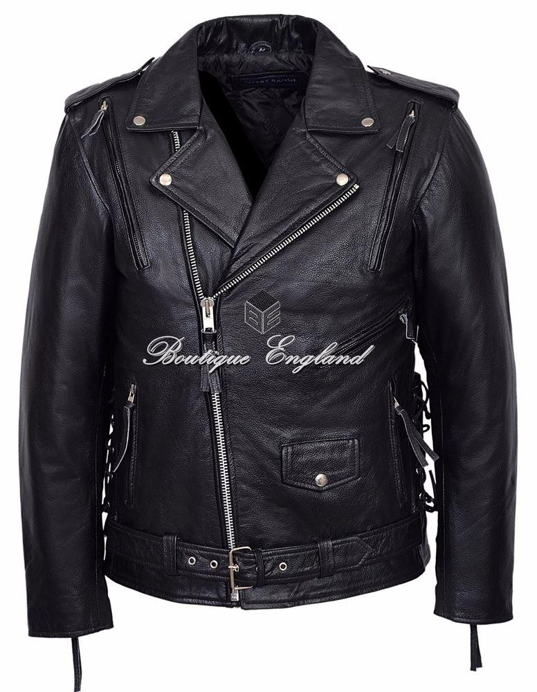 'EMBOSSED RED INDIAN' Men's BLACK Motorcycle Biker Cowhide Leather Jacket