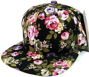 New Vintage Floral Flower Flat Bill Hawaiian Snapback Cap Hip Hop Hat Floral | eBay