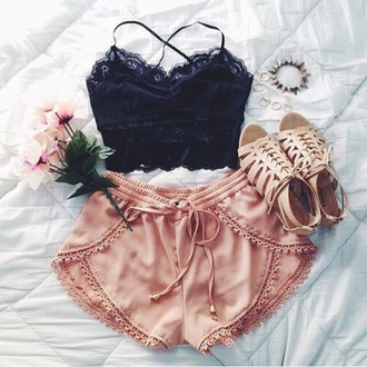 shorts top crop tops shoes sandals spring summer acessories glamour fashion ootd outfit clothes vogue teen girly black floral flowers jewelry