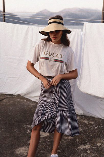 Skirt tumblr hat gucci gucci t shirt logo tee t for T shirt dress outfit tumblr