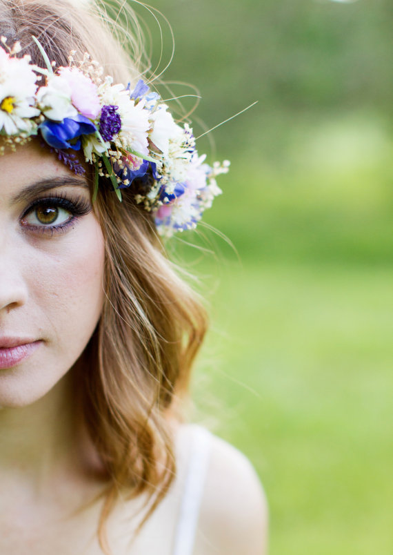 Purple Lavender Dried Flower crown Floral hair door AmoreBride