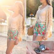 shorts,romwe,romwe shorts,romwe belt,bag,blouse,jewels,sweater