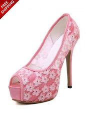 shoes,pink,open toes,lace,heels