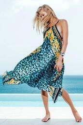 dress,blue,print,womens sauvage,yellow,bikiniluxe
