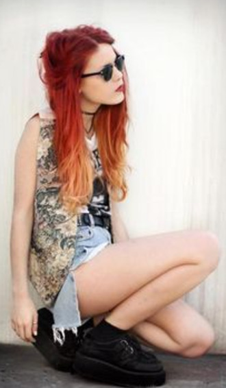 jacket punk hipster red orange hair orange hair grunge retro pink rainbow shoes shirt sunglasses