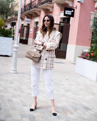 jacket coat plaid coat denim jeans white jeans cropped jeans shoes sunglasses bag grey bag