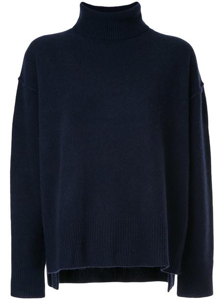 Le Ciel Bleu sweater oversized knit sweater oversized women blue wool knit