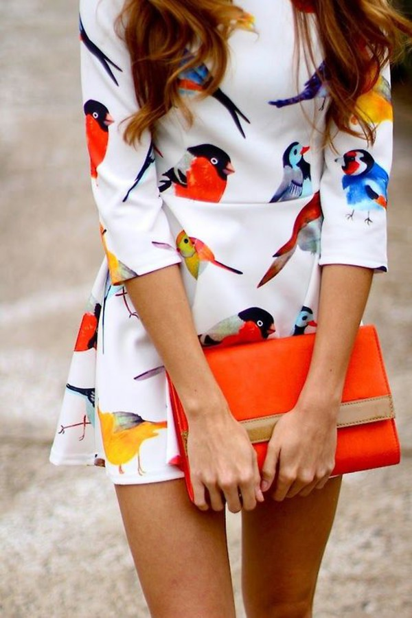 white print dress birds colorful orange clothes