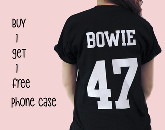 black top david bowie t-shirt shirt black t-shirt black black and white
