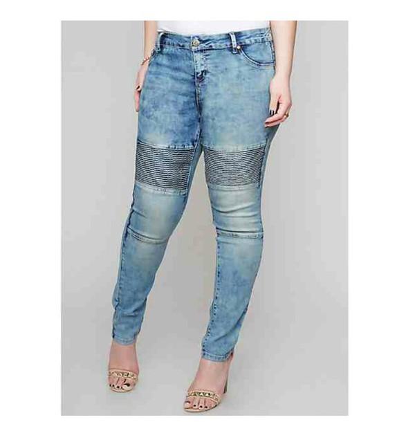 jeans blue denim moto plus size