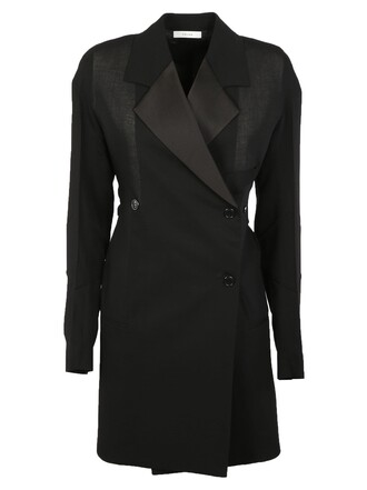 coat double breasted black