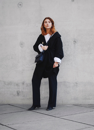 pants tumblr winter work outfit work outfits office outfits black pants wide-leg pants coat black coat shirt white shirt bag black bag boots black boots
