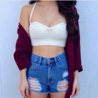 shirt crop tops white crop tops fashion top shorts sweater