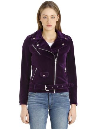 jacket biker jacket velvet purple