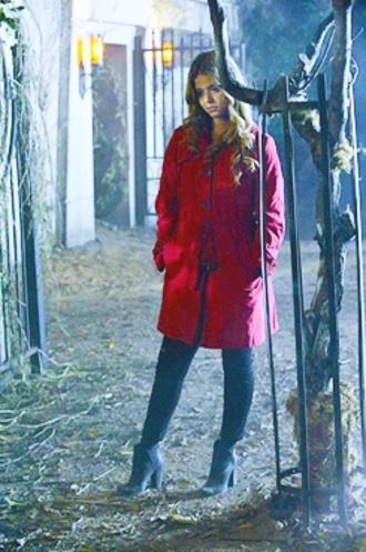 coat red coat sasha pieterse alison dilaurentis