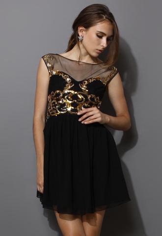 dress heart shape sequins embellished black mesh chic women blogger