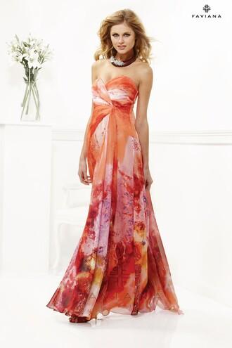 dress holiday season print faviana long dress homecoming dress orange dress maxi dress