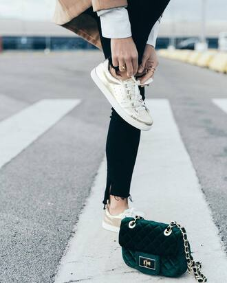 shoes tumblr gold sneakers gold shoes metallic metallic shoes sneakers low top sneakers bag velvet velvet bag green bag chain bag denim jeans black jeans skinny jeans
