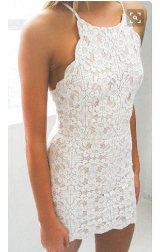 dress short dress lace dress white white dress open back scalloped tight dresses
