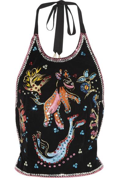 Maison Martin Margiela | Embellished flocked velvet top | NET-A-PORTER.COM