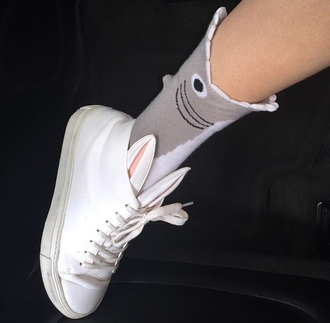 socks pale style shoes animal fashion shark funny bunny tennis shoes white ears bunny ears cute pink animals sneakers rabbit ears white rabbit cara delevingne high top sneakers white fish grey