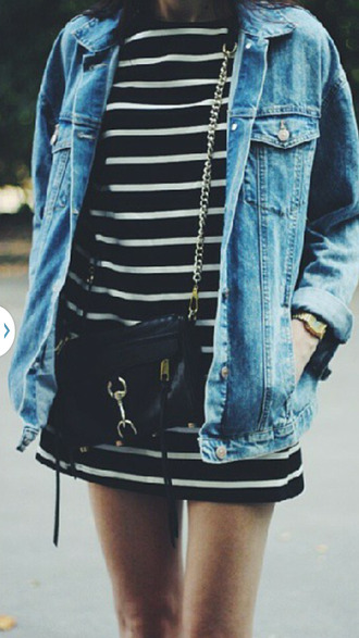 jacket denim jacket striped dress black purse bag
