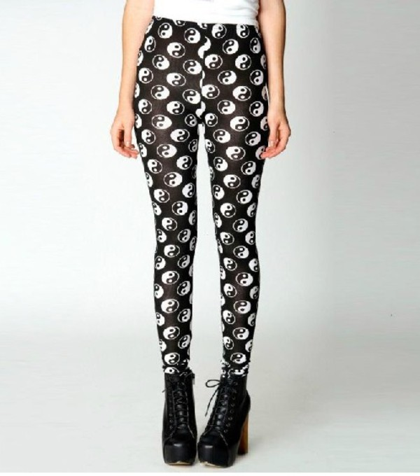 pants yin yang black white leggings