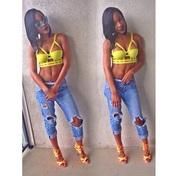 top,tank top,crop tops,yellow,jeans,high heels,lipstick