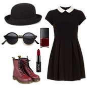 dress,glasses,hat,boots,blouse,black,elegant,girl,teenagers,peter pan collar,black dress,white,white collar