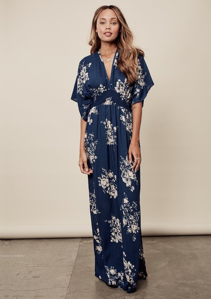 dress dark blue navy floral flowers floral dress blue dress navy dress  kimono dress v neck 46f5abfc77b4