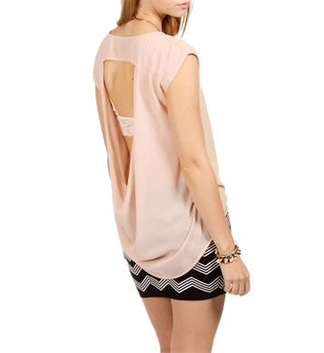 Blush shimmer open back top