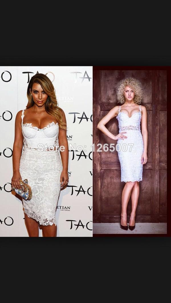 white dress two-piece lace dress kim kardashian