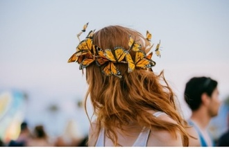 hat flower crown butterfly hippie headband festival music festival flowers flower hair summer beauty hair accessory crown headband butterflyheadband hair coachella hair/makeup inspo