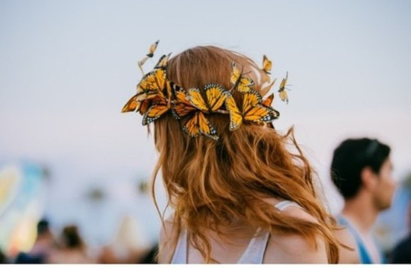 butterfly hat flower crown hippie headband , flowers , flower hair festival music festivals