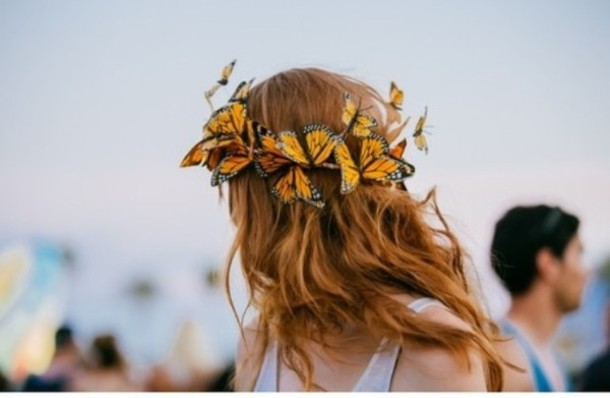 ff4740b9529 hat flower crown butterfly hippie headband festival music festival flowers  flower hair summer beauty hair adornments