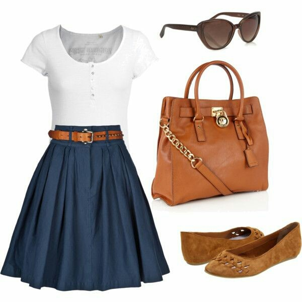 dress sunglasses bag skirt belt fall outfits circle skirt country high waisted  skirt blue skirt flats blue