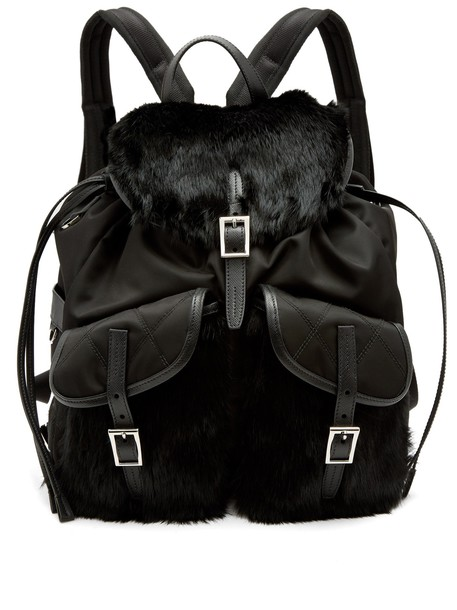 Prada fur fox backpack black bag