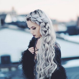 hair accessory silver hair long hair braid hairstyles jacket fur jacket black jacket top lace up top beautiful