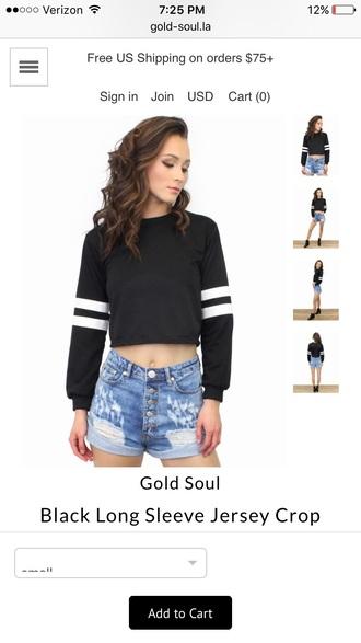 blouse black crop top crop tops baseball jersey