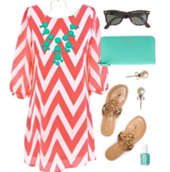 dress short dress zigzag coral dress short sleeve shoes jewels nail polish bag sunglasses