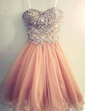 dress short homecoming dress peach dress sparkly dress